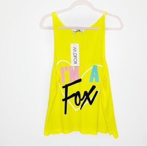 NWT Wildfox 'I'm a Fox' Yellow Tank Top Small
